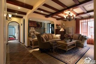 东南亚风格三居室富裕型客厅吊顶沙发效果图