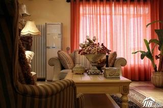 东南亚风格三居室富裕型客厅窗帘效果图