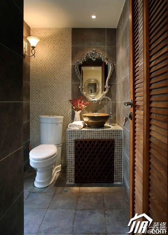 东南亚风格三居室富裕型卫生间浴室柜效果图