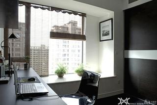 简约风格公寓时尚冷色调富裕型书房飘窗书桌效果图