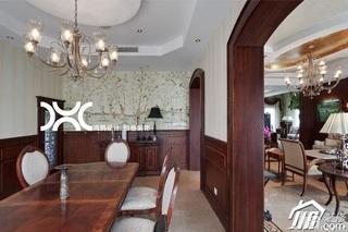 欧式风格别墅富裕型140平米以上餐厅餐厅背景墙装修效果图
