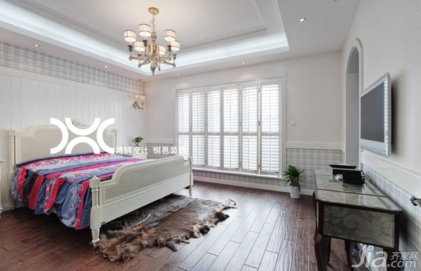 欧式风格别墅白色富裕型140平米以上卧室床效果图