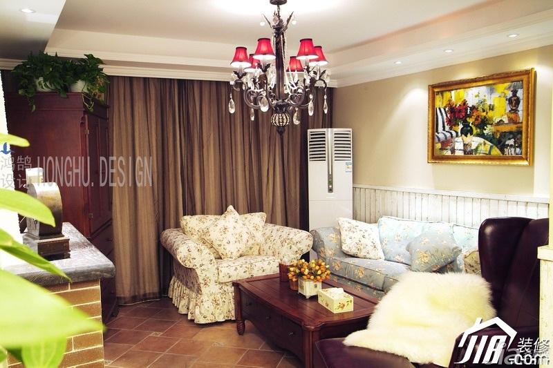 美式乡村风格公寓浪漫富裕型客厅沙发图片