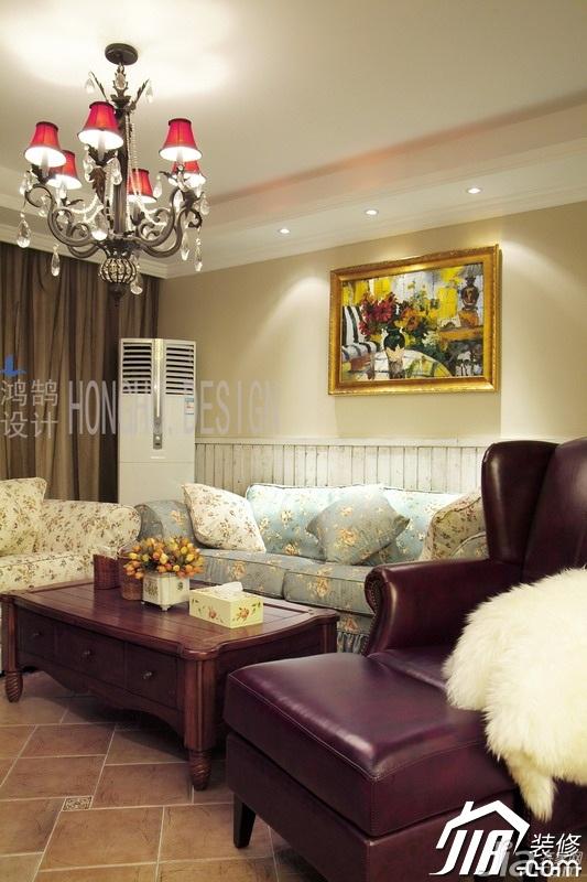 美式乡村风格公寓浪漫富裕型客厅沙发效果图