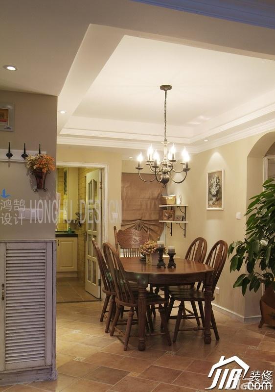 美式乡村风格公寓浪漫富裕型餐厅餐桌效果图