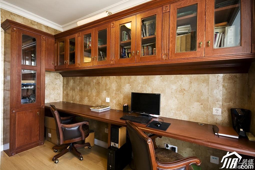 简欧风格公寓原木色富裕型书房书柜图片