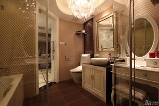 新古典风格公寓奢华褐色豪华型卫生间浴室柜效果图