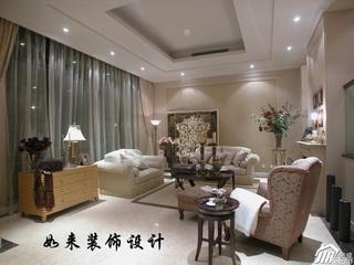欧式风格复式奢华富裕型客厅沙发效果图