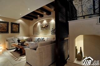 欧式风格别墅古典米色豪华型140平米以上客厅沙发背景墙沙发效果图