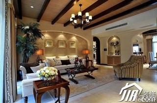 欧式风格别墅古典米色豪华型140平米以上沙发背景墙沙发效果图