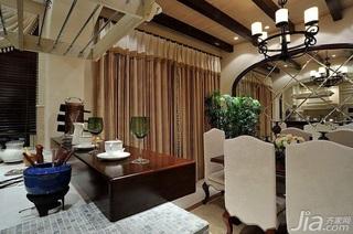 欧式风格别墅古典米色豪华型140平米以上餐厅吧台餐桌效果图