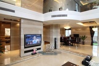 欧式风格别墅富裕型客厅电视背景墙装修图片