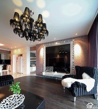 简约风格公寓富裕型120平米客厅电视背景墙灯具效果图