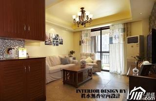 美式风格公寓可爱暖色调富裕型80平米玄关鞋柜效果图