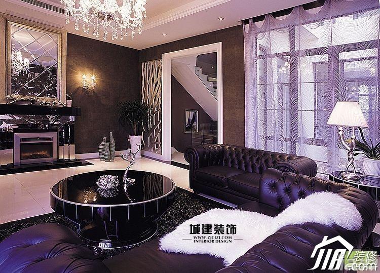 欧式风格跃层奢华紫色20万以上客厅背景墙沙发效果图