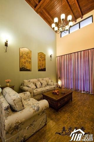 混搭风格别墅温馨暖色调豪华型客厅沙发背景墙沙发效果图