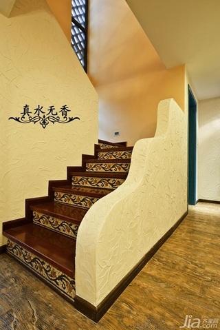 混搭风格别墅温馨暖色调豪华型楼梯设计图纸