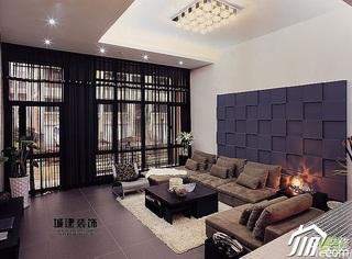 简约风格跃层富裕型客厅沙发背景墙沙发效果图