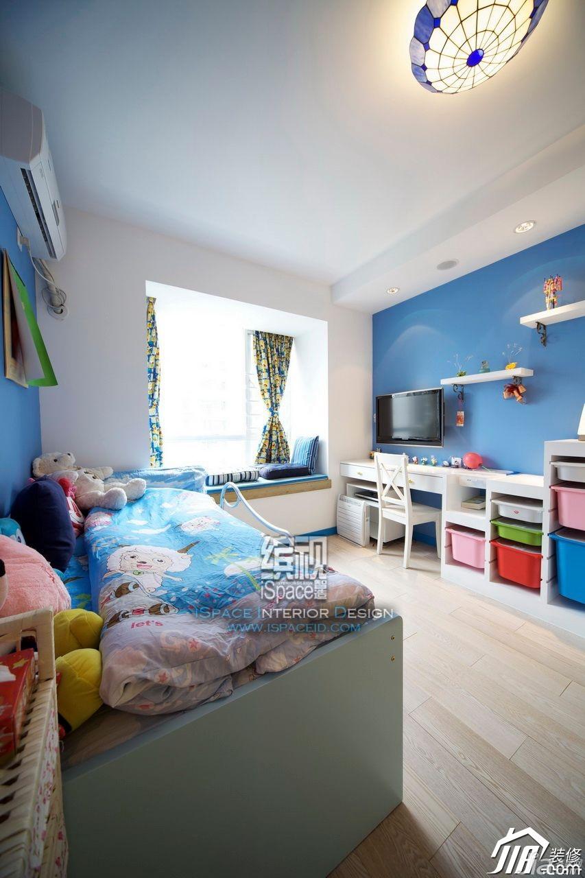 复式公寓装修效果图130平米家装效果图儿童房间效果图卧室书桌装修图片
