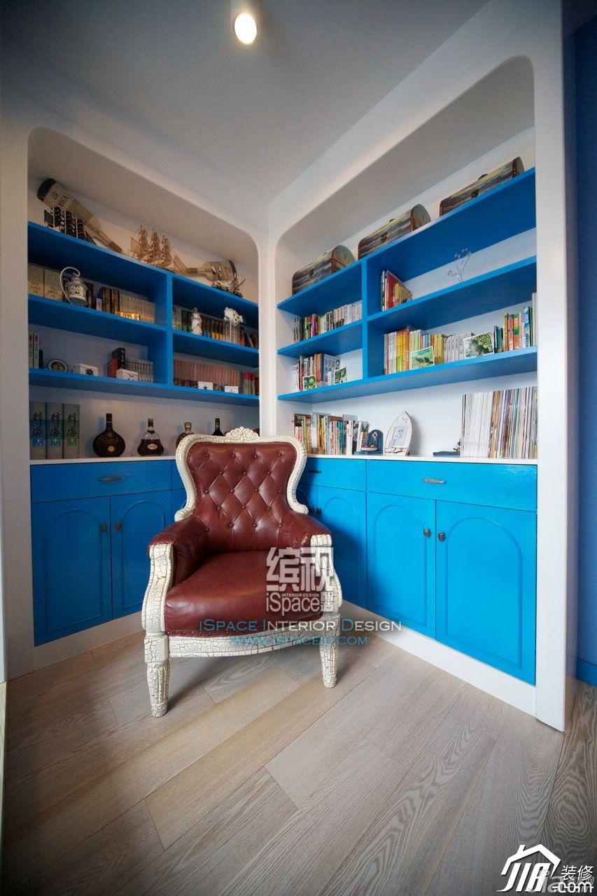 混搭风格公寓富裕型130平米书房书架图片