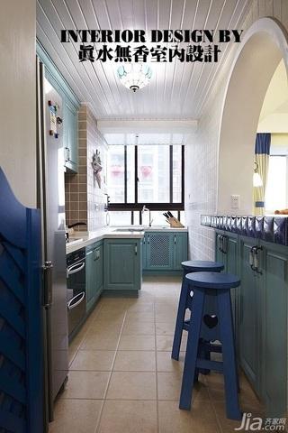 地中海风格公寓富裕型100平米厨房橱柜安装图