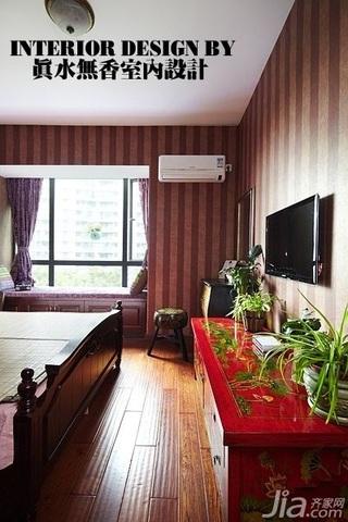 混搭风格公寓古典原木色豪华型80平米卧室电视柜效果图