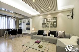 简约风格公寓时尚冷色调富裕型客厅照片墙沙发效果图