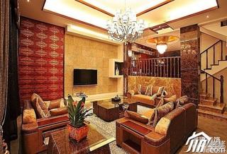 欧式风格别墅豪华型客厅电视背景墙沙发效果图