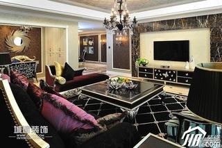 欧式风格四房豪华型客厅电视背景墙沙发效果图