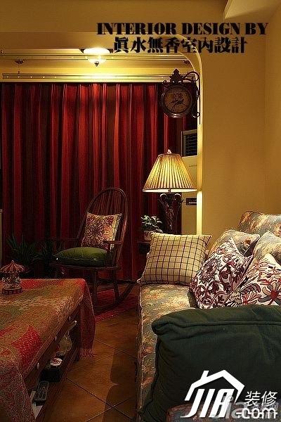 美式乡村风格公寓温馨暖色调110平米客厅窗帘图片