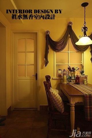 美式乡村风格公寓温馨暖色调110平米餐厅餐厅背景墙餐桌效果图