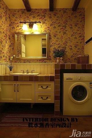美式乡村风格公寓温馨暖色调110平米卫生间浴室柜效果图