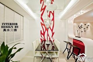 简约风格公寓时尚红色富裕型100平米餐厅吧台餐桌图片