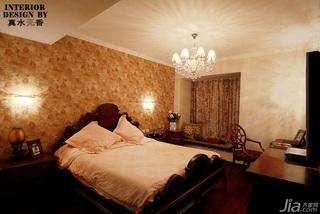 新古典风格公寓古典原木色豪华型140平米以上卧室壁纸效果图