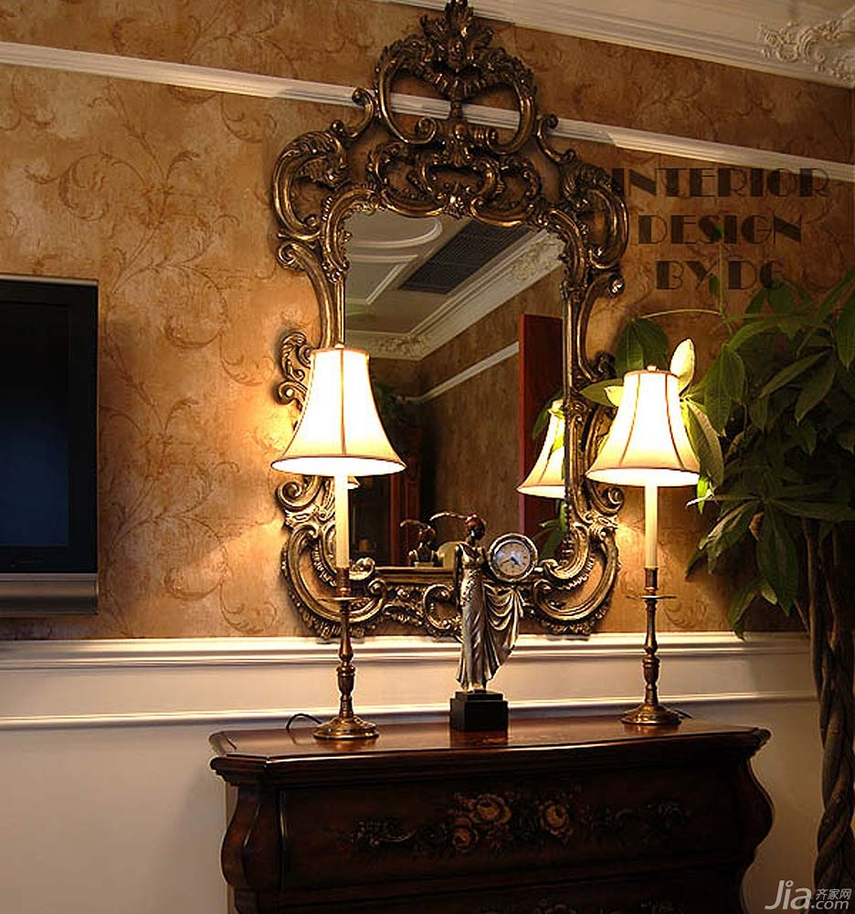 欧式风格别墅奢华豪华型餐厅餐厅背景墙灯具效果图