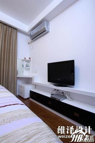 简约风格公寓时尚冷色调富裕型80平米卧室电视柜效果图