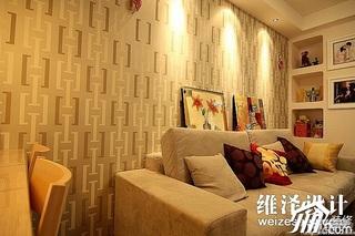 简约风格公寓富裕型60平米客厅壁纸效果图