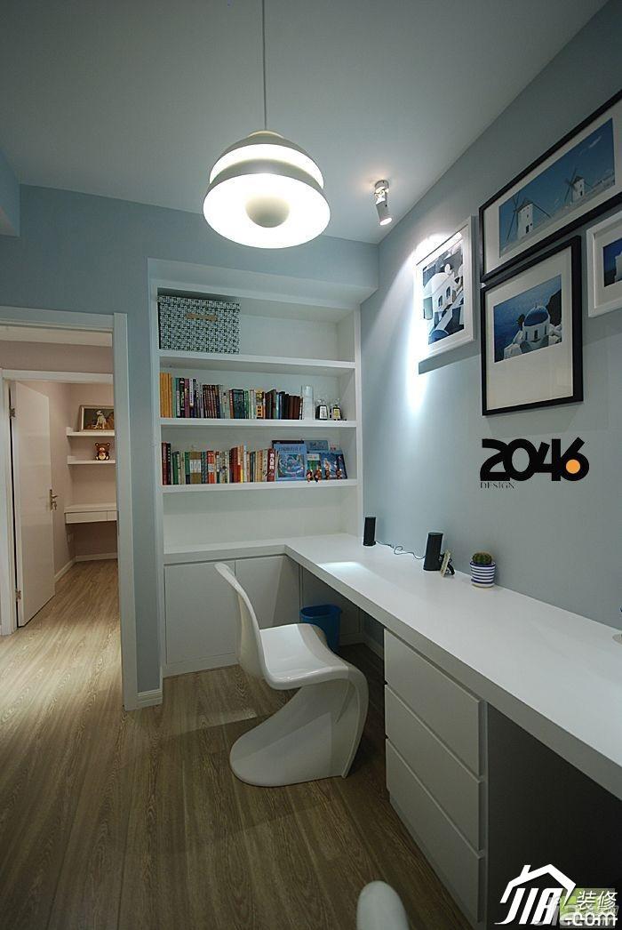 简约风格二居室简洁富裕型书房背景墙书架图片