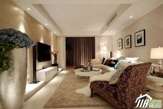 简欧风格复式富裕型客厅沙发背景墙沙发婚房平面图