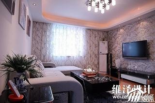 简约风格公寓大气富裕型90平米客厅壁纸效果图