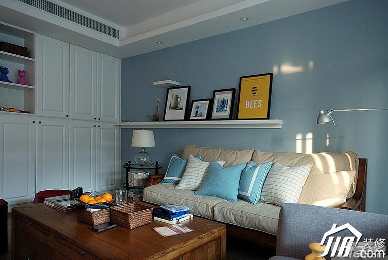 宜家风格二居室蓝色富裕型客厅沙发背景墙沙发图片