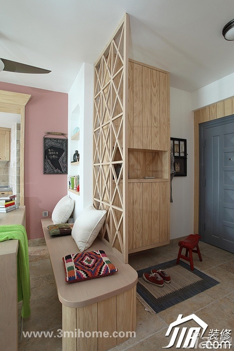 三米设计混搭风格公寓经济型100平米门厅隔断玄关柜图片