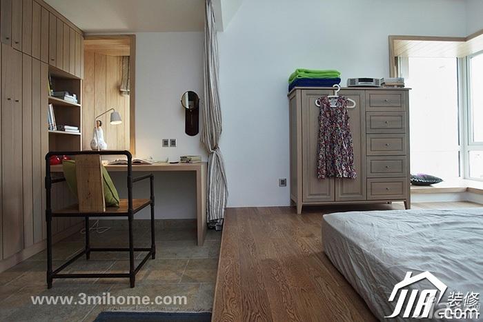 三米设计混搭风格公寓经济型100平米卧室地台衣柜设计图纸