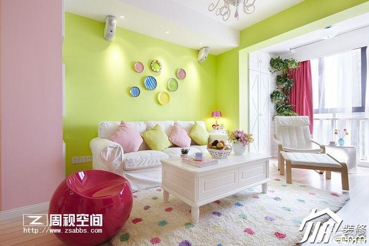 田园风格公寓小清新绿色富裕型80平米客厅沙发背景墙沙发效果图