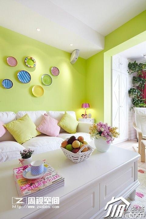 田园风格公寓小清新绿色富裕型80平米客厅沙发背景墙沙发图片