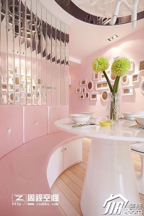 田园风格公寓小清新粉色富裕型80平米餐厅餐厅背景墙餐桌效果图