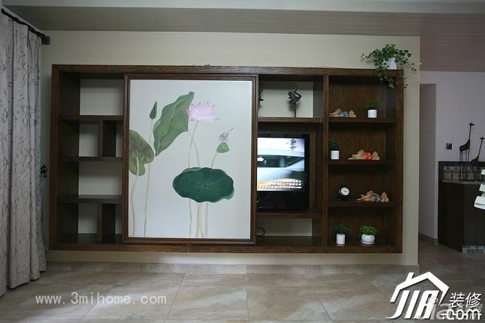 三米设计中式风格公寓经济型120平米电视柜图片