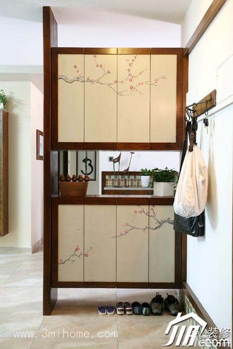 三米设计中式风格公寓经济型120平米玄关隔断玄关柜效果图