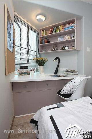 三米设计简约风格公寓经济型120平米工作区书桌效果图