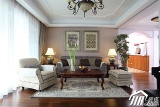 三米设计简欧风格公寓经济型120平米客厅窗帘效果图